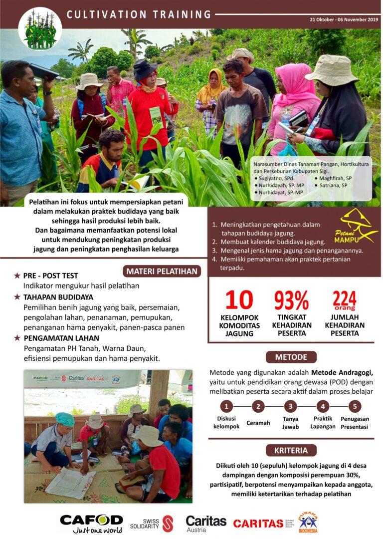 Pelatihan ini fokus untuk mempersiapkan petani dalam melakuan praktek budidaya yang baik sehingga hasil produksi lebih baik